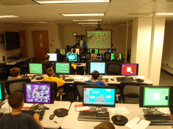 Testing each other's games in Video Game Design Camp at the Smithsonian Associates Summer Camp 2013